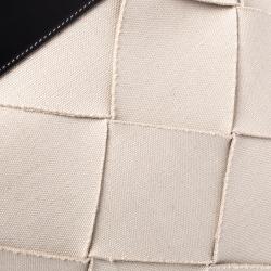 Bottega Veneta Cream/Black Canvas and Leather Slip Tote