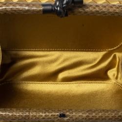 Bottega Veneta Light Mustard Satin and Python Trim Knot Clutch