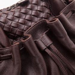 Bottega Veneta Brown Dome Drawstring Bag