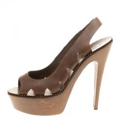 713c1e3bc Bottega Veneta Brown Leather Peep Toe Platform Slingback Sandals Size 38.5
