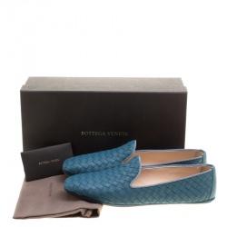 Bottega Veneta Blue Intrecciato Leather Smoking Slippers Size 38