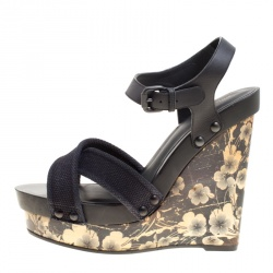 8d1456c60 Bottega Veneta Black Leather and Canvas Floral Printed Wooden Wedge Cross  Strap Sandals Size 40.5