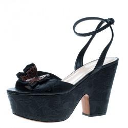 8fd557404 Bottega Veneta Black Leather Snakeskin Detail Butterfly Gilda Wedge Sandals  Size 40