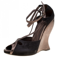81fc20447 Bottega Veneta Black Suede And Metallic Grey Leather Cut-Out Ankle Strap  Wedge Sandals Size