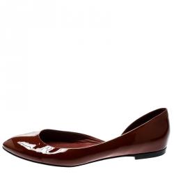 11a26c851d69 Bottega Veneta Brown Patent Leather D orsay Ballet Flats Size 38.5