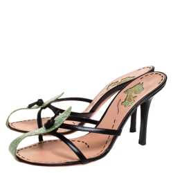 Bottega Veneta Black/Green Leather And Embossed Leather With Knot Detail Slide Sandals Size 40.5