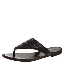 Bottega Veneta Brown Intrecciato Leather Thong Flats Size 36