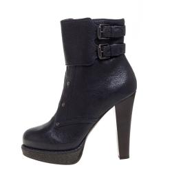 Bottega Veneta Deep Purple Leather Platform Ankle Boots Size 38