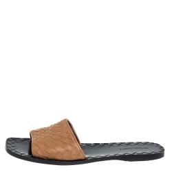 Bottega Veneta Brown Intrecciato Leather Flat slides Size 37.5