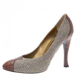 70cc00644cfd Bottega Veneta Beige Brown Fabric and Crocodile Almond Toe Pumps Size 36.5