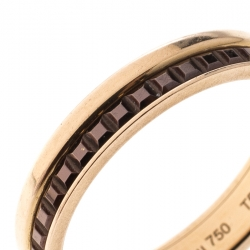 Boucheron Quatre Classique Brown PVD & 18k Rose Gold Band Ring Size 56
