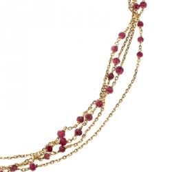 Boucheron Frou Frou 18k Yellow Gold Diamonds And Tourmaline Bead Necklace
