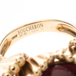 Boucheron Frou Frou Garnet Cabochon 18k Rose Gold Cocktail Ring Size 50