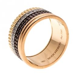 Boucheron Quatre Classique Diamond 18k Three Tone Gold Large Band Ring Size 63