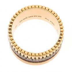 خاتم بوشيرون كواترا كلاسيك ألماس ذهب ثلاثي اللون عيار 18 كبير مقاس 53