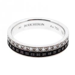 3ff4af704 خاتم زفاف بوشيرون كواتر بلاك إديشن إصدار محدود PVD أسود وذهب أبيض عيار 18  مقاس 50
