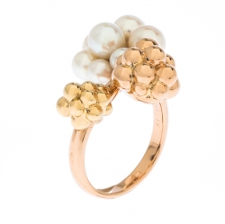 Boucheron Grand Mule Cultured Pearl 18k Two Tone Gold Ring Size 53