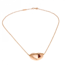 Boucheron Heart Garnet 18K Rose Gold Chain Link Pendant Necklace