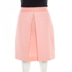 Boutique Moschino Pink Textured Jacquard and Floral Lace Layered Skirt M