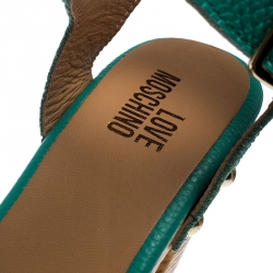 Moschino Green Leather Platform Ankle Strap Sandals Size 38