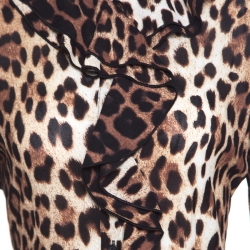 Boutique Moschino Brown Leopard Print Blouse and Maxi Skirt Set M/S