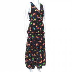 Boutique Moschino Black Butterfly Printed Silk Dress L