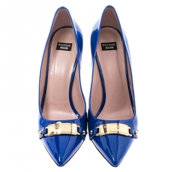 Boutique Moschino Blue Patent Leather Logo Plague Pointed Toe Pumps Size 41