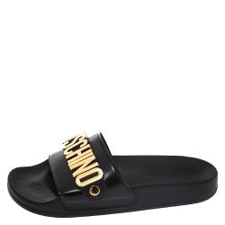 Boutique Moschino Black PVC Logo Embellished Pool Slide Flats Size 36