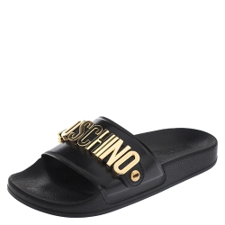 Boutique Moschino Black PVC Logo Embellished Pool Slide Flats Size 36
