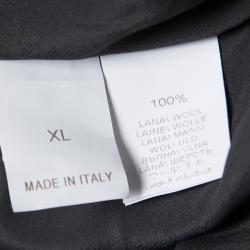 Brunello Cucinelli Grey Wool Embellished Side Seam Detail Midi Skirt XL