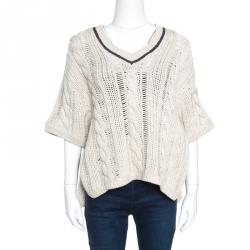 Brunello Cucinelli Beige Chunky Knit Monili Trim V Neck Sweater S