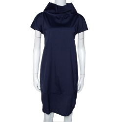 فستان برونيللو كوتشينيلي قطن أزرق كحلي  سترتش مقاس كبير (لارج)