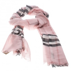 25cb8f368931 Burberry Ash Rose Pink Wool and Silk Giant Check Fringed Edge Gauze Scarf