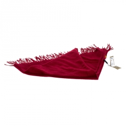 Burberry Red Cashmere Fringe Trimmed Triangle Scarf