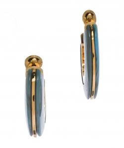 Burberry Blue Marbled Resin Gold Tone Hoop Earrings
