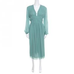 9b16a37ec6d5 Burberry Prorsum Pale Teal Blue Plunge Neck Silk Gathered Waist Midi Dress L