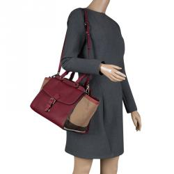 cf673835cd Burberry Burgundy House Check Leather and Canvas Medium Harcourt Tote