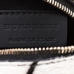 Burberry White/Grey Calfhair and Leather Pallas Head Coin Case