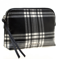 Burberry Black/Green Smoked Check Nylon Large Pouch