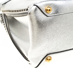 Burberry Silver Leather Medium Brogue Banner Tote