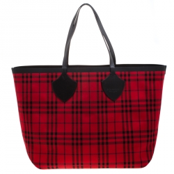 Burberry Red/Green Vintage Check Canvas Giant Reversible Tote