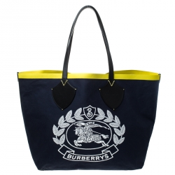 Burberry Navy Blue/Yellow Archive Logo Canvas And Leather Giant Tote