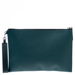 Burberry Dark Green Leather Wristlet Pouch