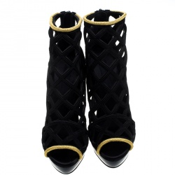 Burberry Prorsum Black Suede and Gold Edenside Cage Wedge Ankle Boots Size 37.5