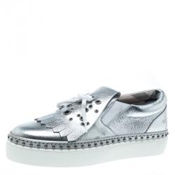 6835af805c8 Burberry Metallic Silver Kiltie Fringe Detail Slip On Sneakers Size 37.5