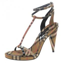 Burberry Beige Novacheck Fabric Hans T Strap Sandals Size 39.5