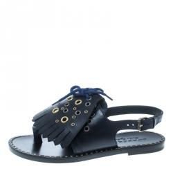 54b18128e536 Burberry Navy Blue Leather Kiltie Fringe Eyelet Detail Flat Sandals Size 40