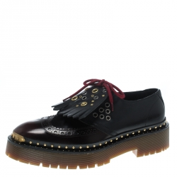 670daf1b31 Burberry Two Tone Brogue Leather Bissett Fringe Detail Lace Up Platform  Derby Size 40