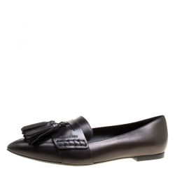 6e4cc46b028 Burberry Black Leather Coledale Tassel Detail Pointed Toe Penny Loafers  Size 39