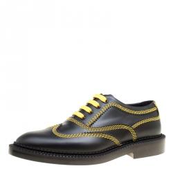 8e7fd3c40e7 Burberry Black Leather Bertram Contrast Triple Stitch Lace Up Oxfords Size  38.5